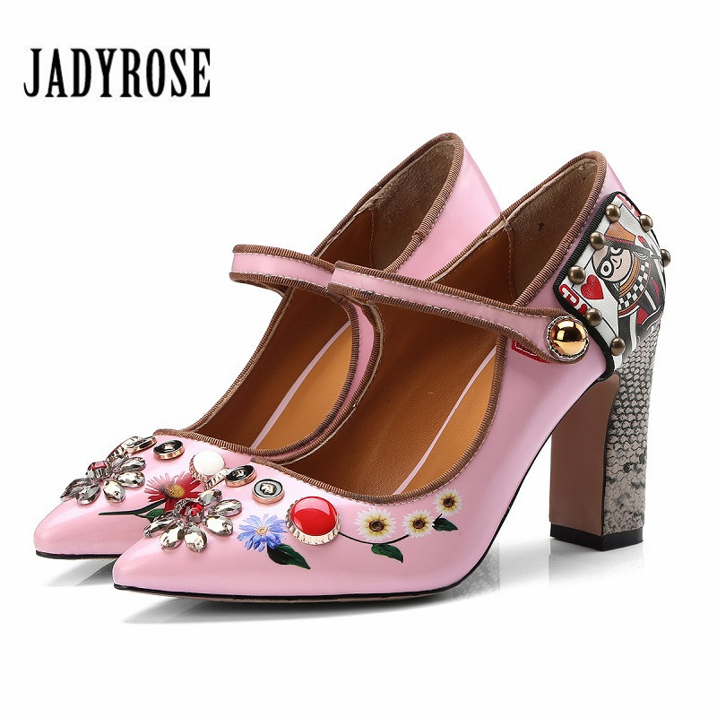 Jady Rose Pink Pointed Toe Women Pumps Mary Jeans Wedding Dress Shoes Rhinestone Print 9CM Chunky High Heels Sexy Stiletto цена 2017