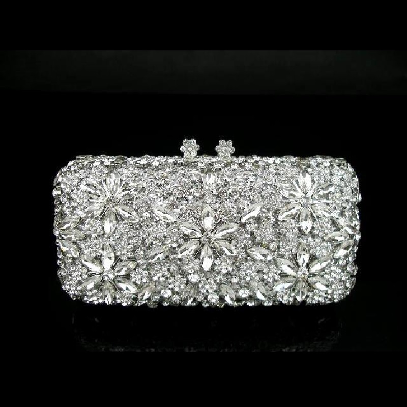 #8138 Crystal Flower Floral Silver Metal Bridal Party hollow Metal Evening purse clutch bag box case handbag