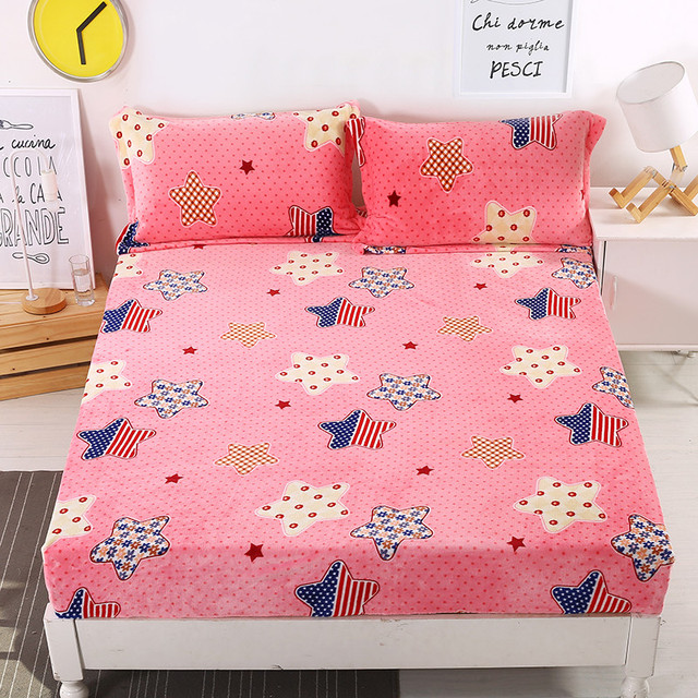 1PC 100% Polyester Fitted Sheet Mattress Cover With Elastic Cartoon Stars Bed  Sheets Warm Bed