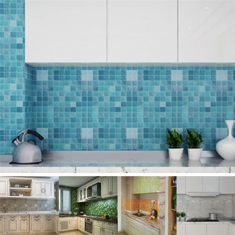 Aliexpress.com : Buy 45x200cm Mosaic Aluminum Foil Self Adhensive Anti Oil  Wallpaper For Kitchen Wall Sticker DIY Home Decor Kitchen Wallpaper From  Reliable ...