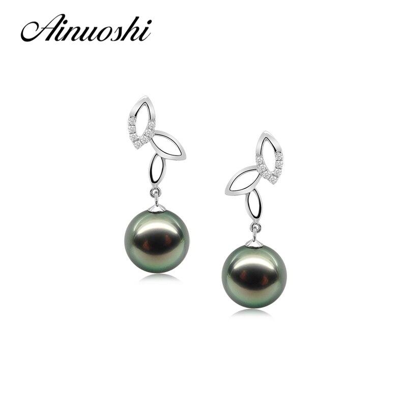 AINUOSHI 925 Sterling Silver Leaves Shaped Drop Earrings Natural South Sea Black Tahiti Pearl 9.5-10mm Round Pearl Drop Earring tropical leaves drop earrings