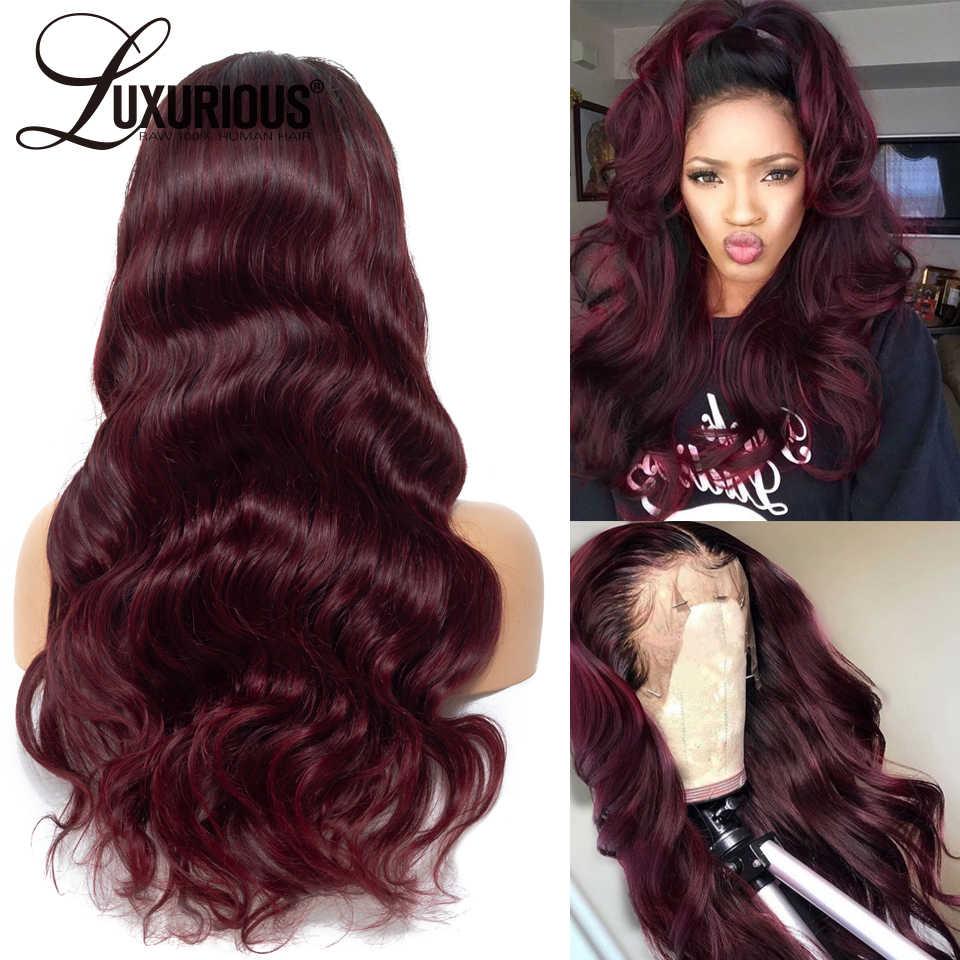 1b/99j бордовые Omber цвет волнистые человеческие волосы с 3 дюймовыми черными корнями волос бразильские волосы Remy парики