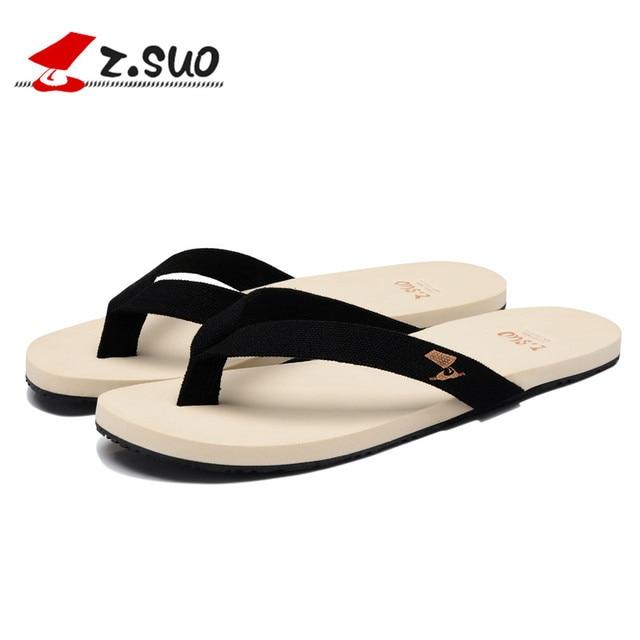 b17d5f2d01528 Z. Suo men s Summer flip-flops leisure fashion Cotton Fabric flip-flop  Summer Soft Men Slippers Beach sandals Male Shoes