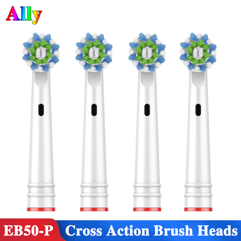 4PCS Cross Function Toothbrush Heads For Braun Oral B Vitality Triumph D12 D16 D20 D34 DB4510 Electric Toothbrush Heads