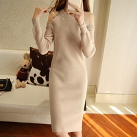 Summer Dress Sale Wool Bamboo Fiber Straight Solid Robe 2017 New Women Knit Dress Cashmere Sexy