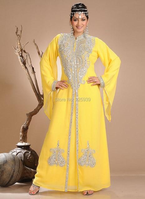 b1a59c4dfc Arabic Style High Neck Sparkly Silver Beaded Dubai Caftan Long Sleeves  Evening Dresses No Train Pakistan Kaftan Yellow Gowns