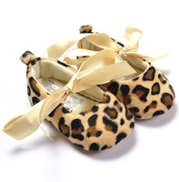 Free Shipping Wholesale Cheetah Baby Boutique Baby Shoes Infant First Walker Shoes Autumn Spring PKSS0019
