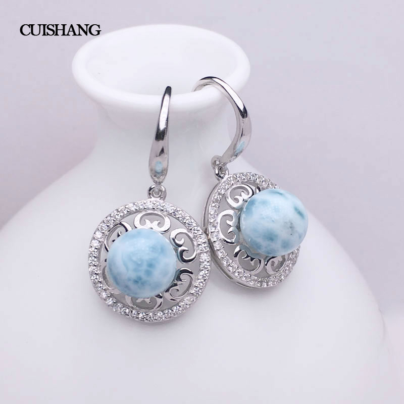 CSJ Natural Larimar Drop Earring Sterling 925 Silver Blue Stone  Wedding Engagement Party for Women Ladies Girls Gift