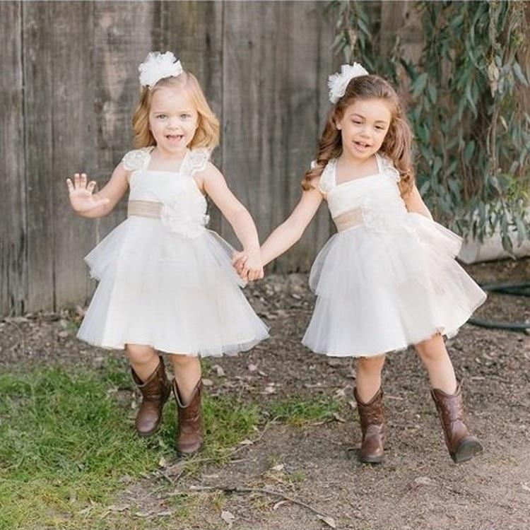 vaquero de la boda kids niña de las flores hasta la rodilla del a