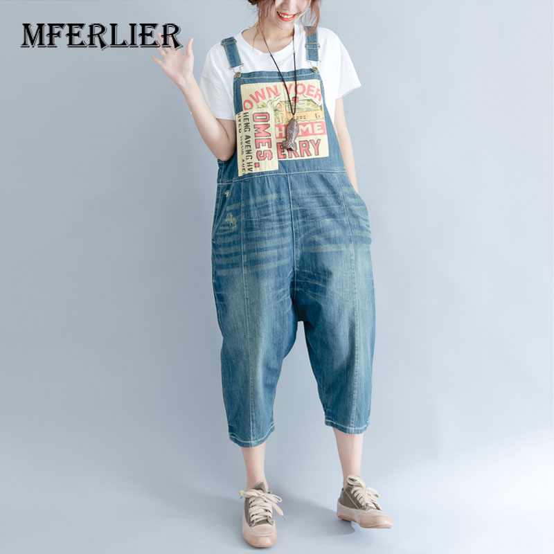 Summer Loose Casual Patchwork Women Denim Overalls Literature Vintage Washed Distressed Jeans Denim With Pocket elisabeth elisabeth el004awgbx99
