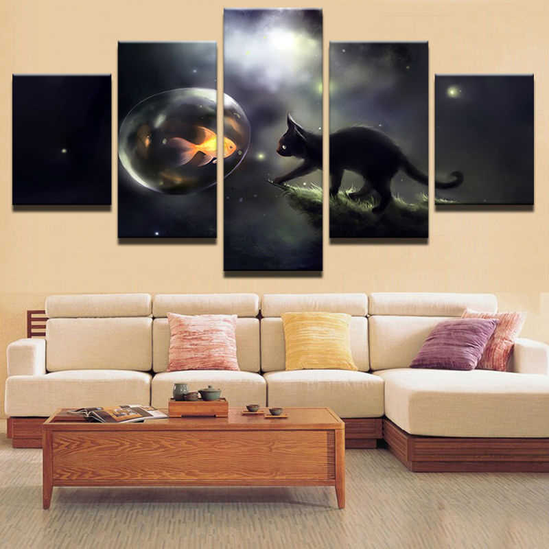 Decoration Pictures Vintage Home Decor Paintings On Canvas 5 Panel Cat Wall Fish Modular Pictures For Living Room HD Print