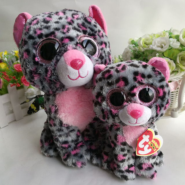 28be6120ed1 2PCs lot 25cm and 15CM Ty Beanie Boos Plush Toy Tasha Leopard Stuffed  Animal doll kids christmas gift Hot Sale