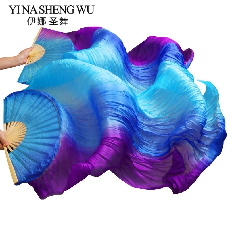 1 Pair (Left+Right) Handmade High Quality 100% Silk/Imitation Silk Belly Dance Fans Bamboo Ribs Long Fans 180x90cm Dance Fans