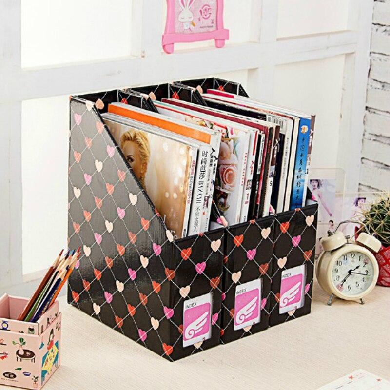 Heart Kraft Paper Desk Organizer DIY Desktop Storage Box for Files Books Stationery Pen Pencil Holder Makeup Organizer File Box