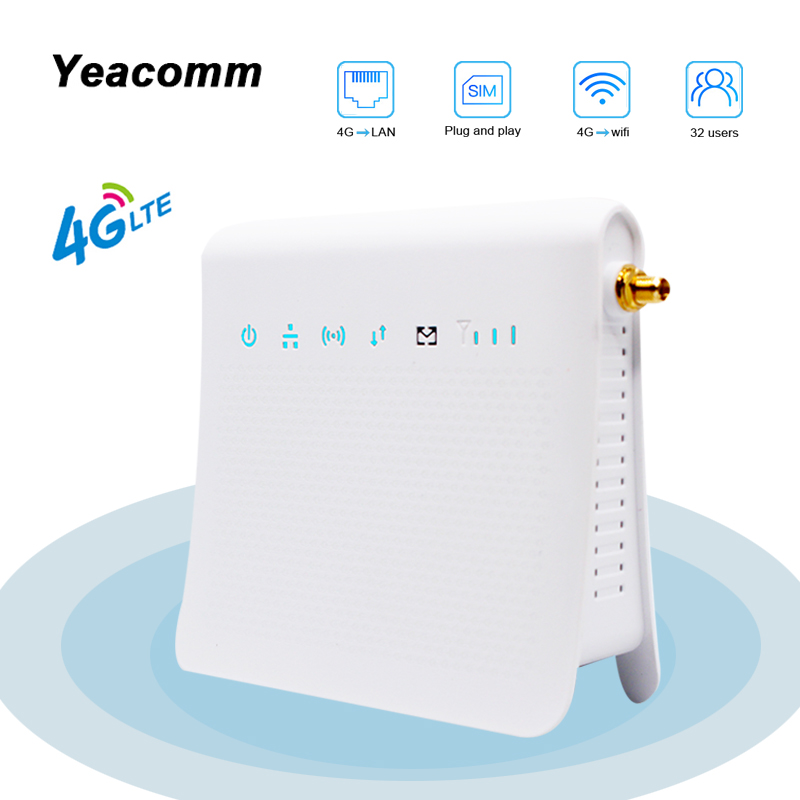 Yeacomm P25 IDU Unlocked 300Mbps Wireless Mobile 4G Indoor LTE CPE WiFi Router With SIM Card Slot And External Antenna