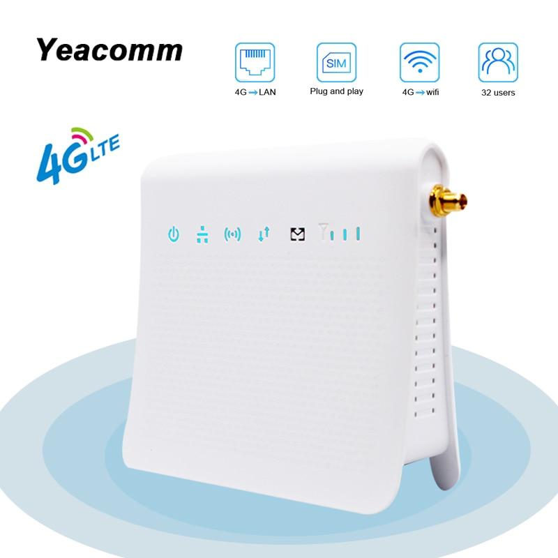 Yeacomm p25 idu desbloqueado 300 mbps móvel sem fio 4g lte cpe interno roteador wi-fi com slot para cartão sim e antena externa