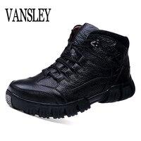 High Quality Super Warm Winter Footwear Men Boots Genuine Leather Boots Men Winter Shoes Men Military Fur Boots Men Black Shoes