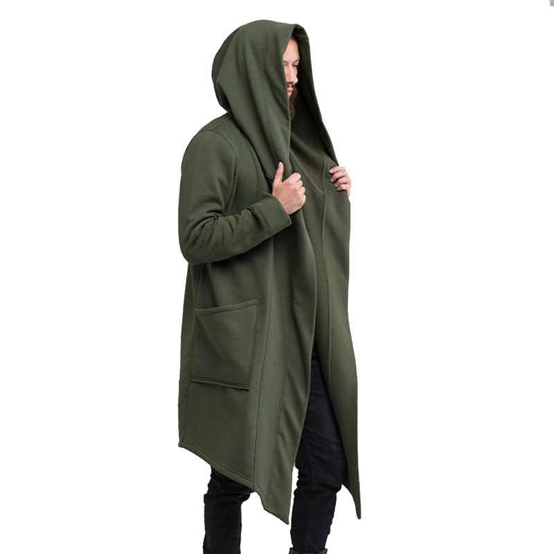 VERTVIE 男性秋冬パーカーロングカーディガンコートカジュアルヒップホップソリッドジャケットポケット男性フード生き抜く服