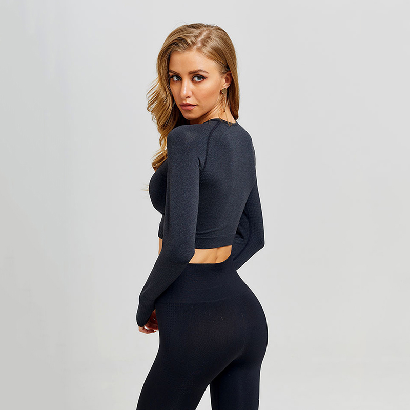 Women Vital Seamless Yoga Set Gym Clothing Fitness Leggings+Cropped Shirts Sport Suit Women Long Sleeve Tracksuit Active Wear