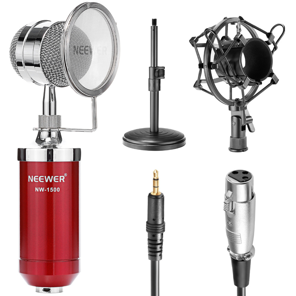 Neewer NW-1500 Desktop Broadcast&Recording Condenser Microphone+Audio Cable Bundle+Iron Mic Stand+Metal Shock Mount+Wind Filter