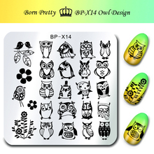 BORN PRETTY 1Pc Nail Stamping Plate Template Owl Design 6*6cm Square Nail Art Image Plate BP-X14