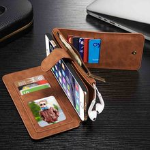 Superior Luxury Leather Case Multi Functional Magnetic Removable Wallet Flip Cover Card Holder For iPhone6 6Plus 6s Plus 5 5s
