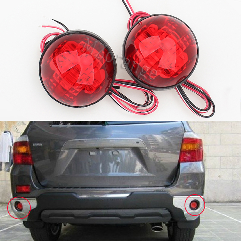 LED Brake Lamp Red Tail Light Parking Warning Rear Bumper Reflector For Toyota Highlander 2009-2011 Fortuner Voxy Mitsubishi ASX 2pcs red rear bumper reflectors light brake parking warning night runing tail lamps led for honda odyssey 2007