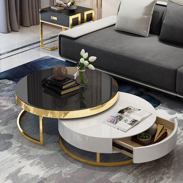 Table basse de salon en fonte dorée moderne
