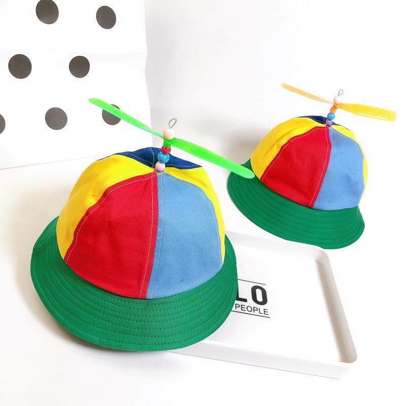 Cotton Helicopter Propeller Bucket Cap Children Kids Fisherman Hat Block Patchwork Dragonfly Beaded Summer Sun Protection