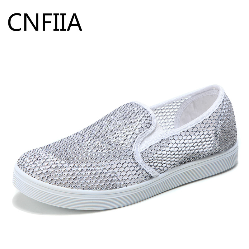 CNFIIA Shoes Women Mesh Breathable Footwear Female 2018 Shoes Women Sneakers Slip on Shoes Walking Womens Loafers Fashion Summer