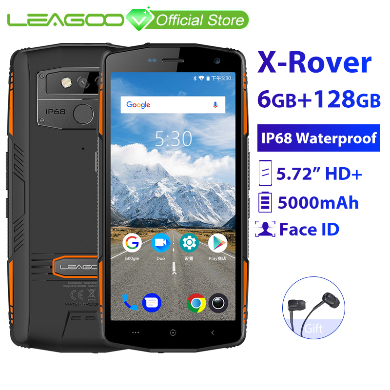 "LEAGOO X-Rover IP68 Waterproof Smartphone 5.72"" 6GB 128GB MTK6763 Octa Core NFC Face ID 13MP Dual Camera 5000mAh 4G Rugged Phone"