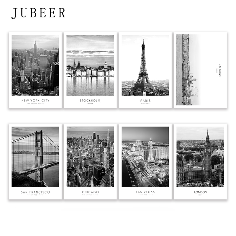 Modern New York London Paris City Wall art Landscape Posters and Prints Black And White Pictures for Living Room Home Decor(China)