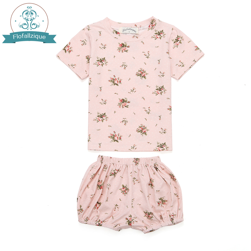 Children's Clothing Baby girls Pajamas Summer Cotton Ivy floral print 2pcs Sleepwear Kids Clothes for Girls Toddler Pijamas sets grey lace details floral print v neck sleeveless pajamas sets