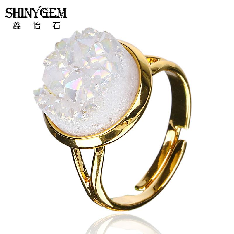 Natural Stone Druzy Ring 6 Colors for Option Geometric Shape Drusy Druzy Rings DRG154