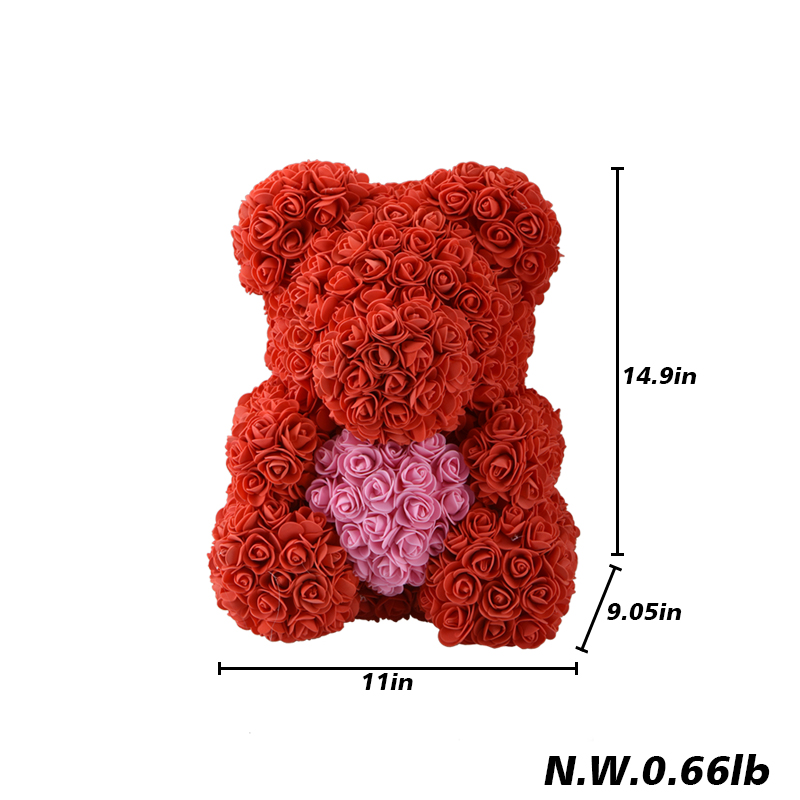 Valentine 39 s Romantice Artificial Rose Bear with LED Box PE Rose Gift for Wedding Party Creative DIY Valentine Gift PE Rose Doll in Artificial amp Dried Flowers from Home amp Garden