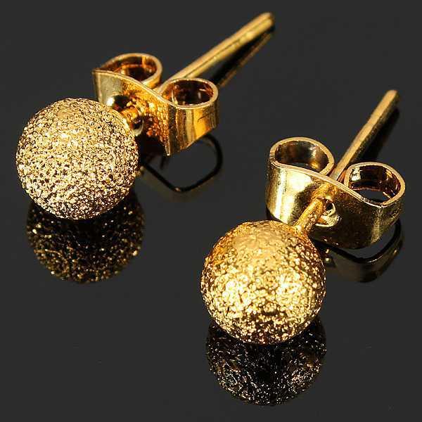 7324e6f16b8d8 2015 New Fashion Jewelry Charming Earring 14K Gold Filled Yellow Women  Ladies Elegant Globular Beads Stud Earrings Unique Design