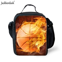 Jackherelook Basketball Fire Printed Adults Lunch Box Hiking Fitness Camping Light Picnic Bags Travel Summer Sports Food Storage