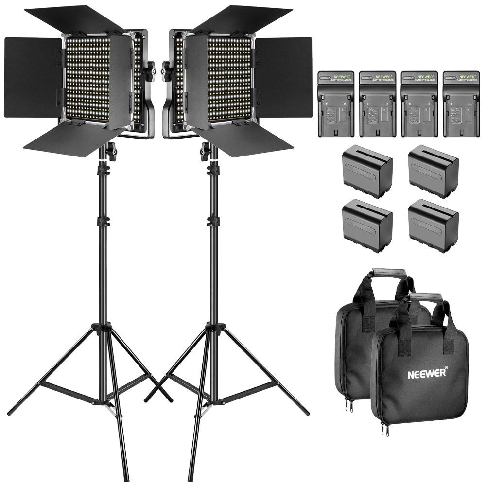 Neewer Bi-couleur LED Vidéo Lumière et Stand Kit avec Batterie et Chargeur-Dimmable 660 LED avec U support et Barndoor (3200-5600 k)