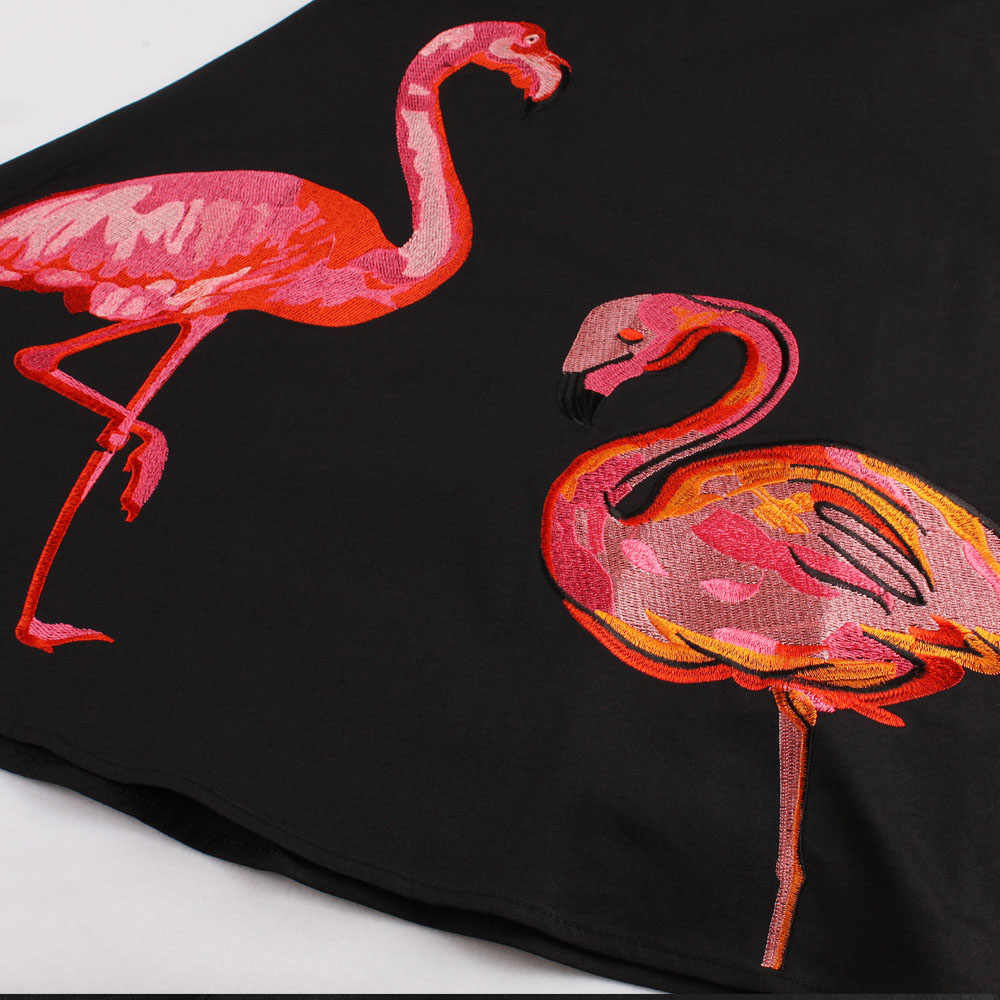 Sovalro плюс размер вышивка Фламинго печати винтажное платье для женщин без рукавов с круглым вырезом Ретро накидка рокабилли Feminino Vestidos