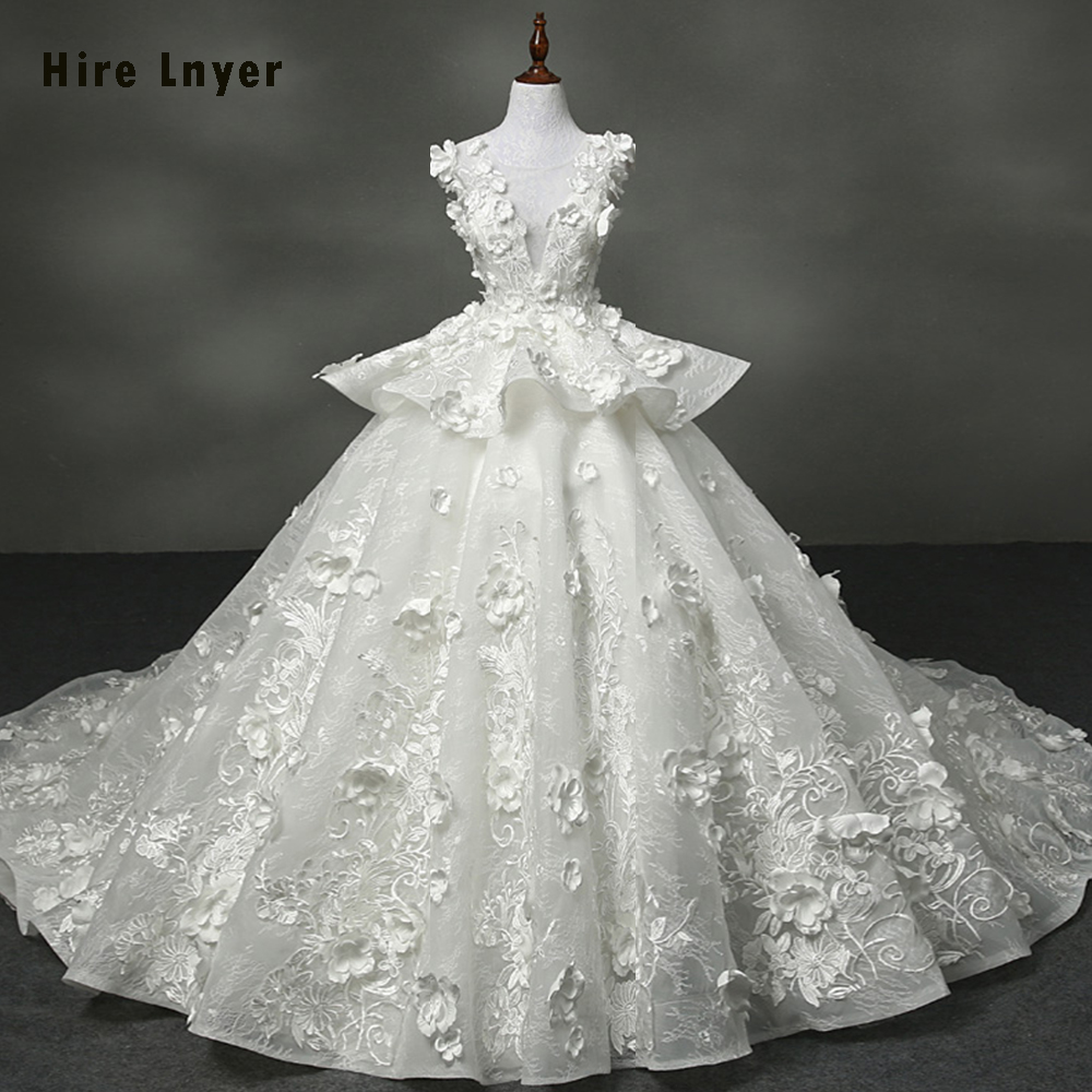 Hire Lnyer New Arrive Luxury Wedding Gowns Aliexpress Login Mariage  Appliques Lace Flowers Bridal Gowns Online Shop China DHL