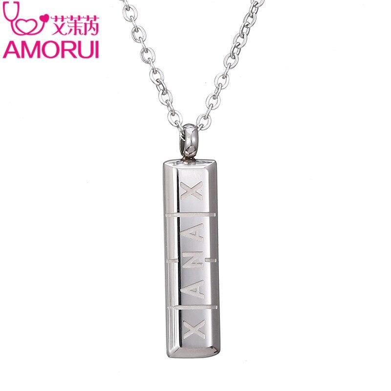 AMORUI mujeres píldora Collier Femme collar Vertical ID Bar collares y colgantes para las mujeres de oro/plata de joyería de Color regalo Bijoux