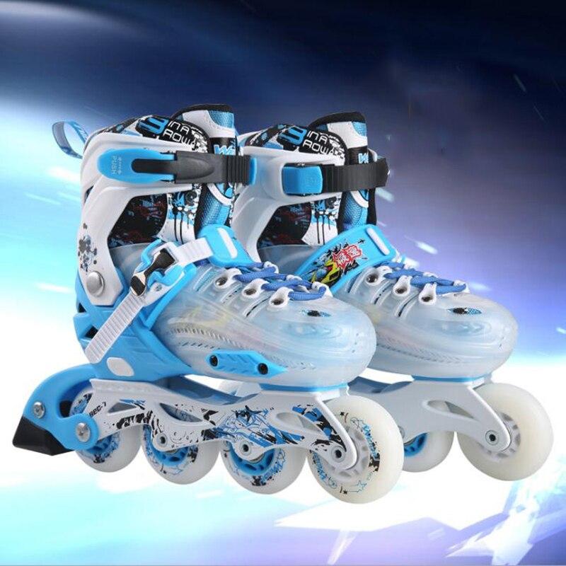 Nouveau professionnel 4 roues en ligne saktes enfants patinage chaussures de sport de plein air chaussures de patin à roulettes pour enfants taille réglable