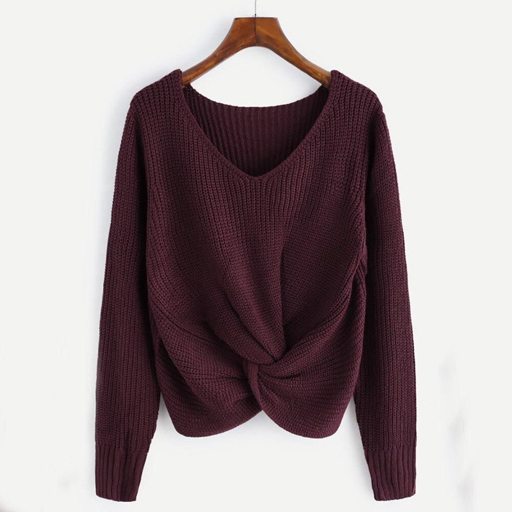 Otoño suéter mujeres Casual invierno mujer suéter manga larga de Color sólido v-cuello cruzado atractivo anudado Panel suéter