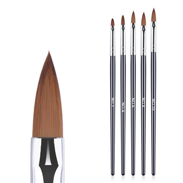 5Pcs UV Gel Nail Brush Pen Nail Art Carving Flower Drawing Painting Brush Multi-Size Bristle Black Handle Manicure Nail Tool