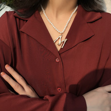 Luxury Simulated Pearl Chain Choker Necklace Women Gold Color Letter M Pendant for 2019 New Fashion Jewelry Gift