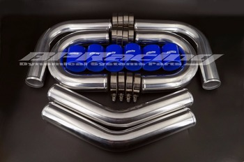 """2.75"""" inch / OD 70mm  BLUE TURBO INTERCOOLER PIPE 2.75"""" INCH / 2mm thickness ALUMINUM PIPING + T - CLAMPS + SILICONE HOSES"""