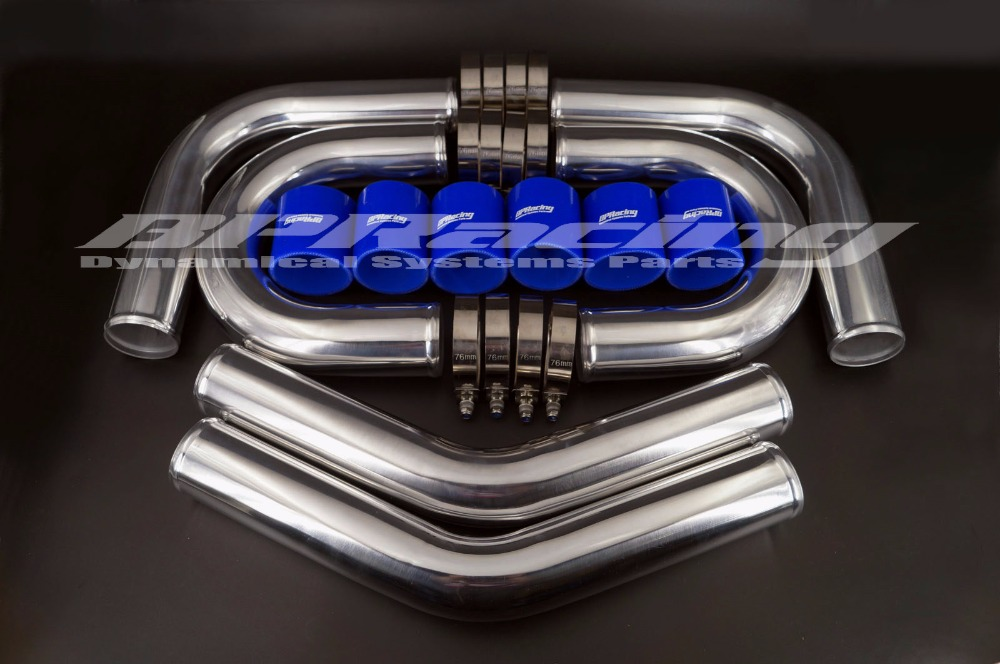 2.75 inch / OD 70mm BLUE TURBO INTERCOOLER PIPE 2.75 INCH / 2mm thickness ALUMINUM PIPING + T - CLAMPS + SILICONE HOSES