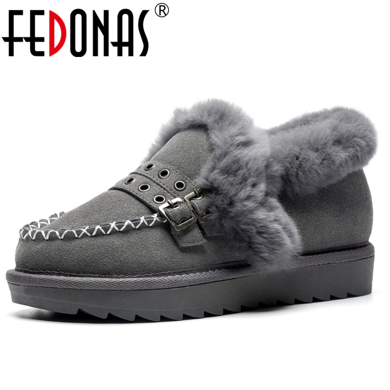 FEDONAS Fashion Women Wedges Heels Pumps Buckles Warm Winter Snow Shoes Woman Round Toe Comfort Casual Shoes Ladies New Pumps 2016 new wedges platform shoes with comfort women bowtie buckle casual shoes sweet solid pumps round toe large size shoes
