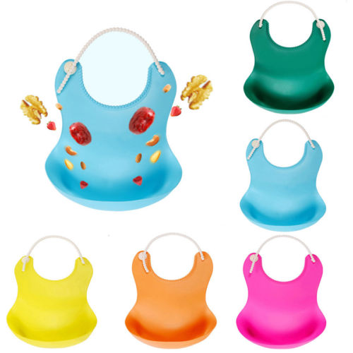 Boys' Baby Clothing Bibs & Burp Cloths Waterproof Silicone Bib With Food Catcher Flexible Baby Bibs For Feeding Stain Resistance Easy Clean Moldproof Anti Bacteria P