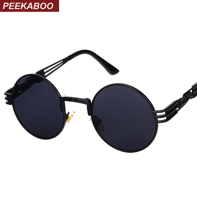c225f7b166 Peekaboo New silver gold metal mirror small round sunglasses men brand  vintage round sun glasses women cheap high quality UV